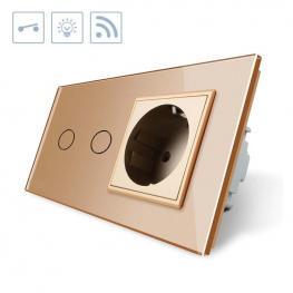 Interruptor Táctil, 2 Botones + 1 Enchufe, Frontal Golden + Remoto