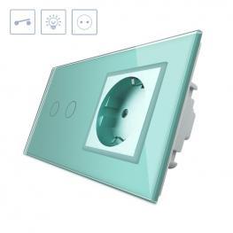 Interruptor Táctil, 2 Botones + 1 Enchufe, Frontal Verde