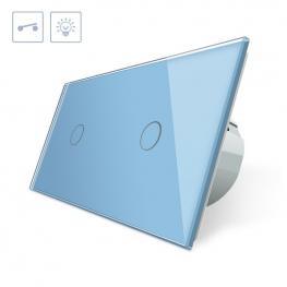 Interruptor Táctil, 2 Botones, Frontal Azul