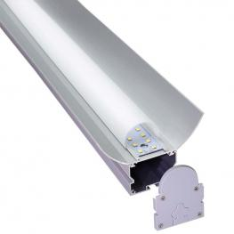 Kit - Perfil Aluminio Grec 120º Para Tiras Led, 2 Metros