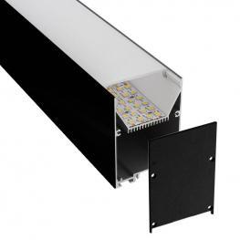 Kit - Perfil Aluminio Serk Para Tiras Led, 1 Metro, Negro