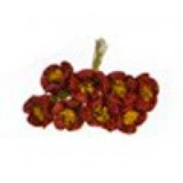 Ramillete Con 8 Flores Decoracion 2.5 Cm Granate