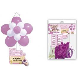 Deco Kit Flor + Cartel comunión Rosa