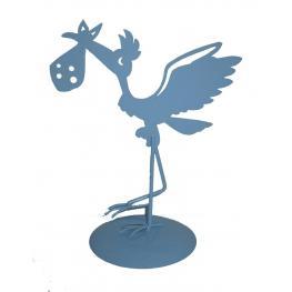 Figura Pastel Metálica Cigüeña Azul