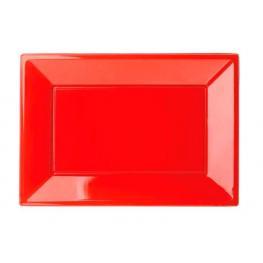 Lote de 3 Bandejas Pvc Rojo