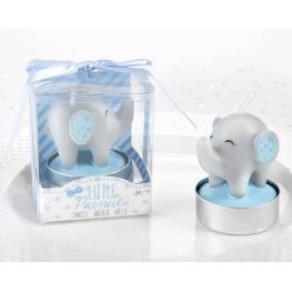 Vela Bautizo Elefante Azul En Caja Regalo