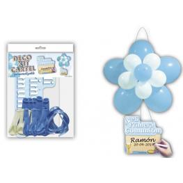 Deco Kit Flor + Cartel comunión Azul