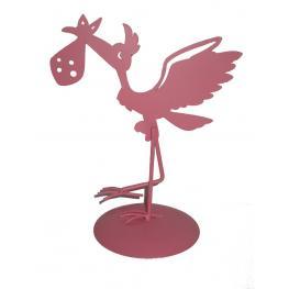 Figura Pastel Metálica Cigüeña Rosa