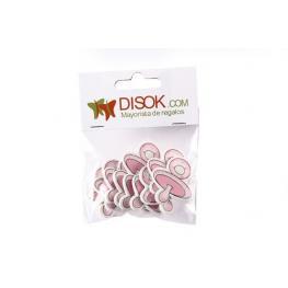 Pack Con 10 Adhesivos Chupete Madera Rosa