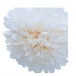 Pompon de Papel de Seda 20 Cm Blanco