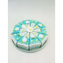 Set 10 Cajas Porción Pastelito + Display Azul