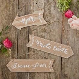 Set de 3 Pizarras En Forma de Flecha Boho Wedding