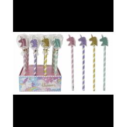 Lote 24 Lápices + Borrador Purpurina unicornio