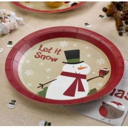 Pack de 8 Platos de Papel Muñeco de Nieve