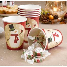 Pack de 8 Vasos de Papel Muñeco de Nieve