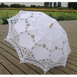 Paraguas de Encaje Bodas Novia Blanco