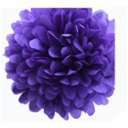Pompon de Papel de Seda 35 Cm Púrpura