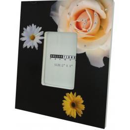 Portafotos de Madera Flower Negro Con Brillantes