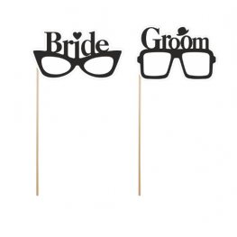 Set de 2 Gafas bride, groom Para Photocall
