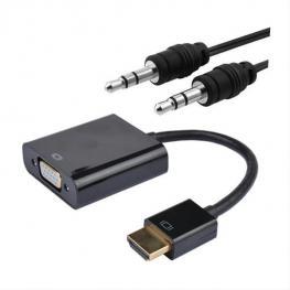 Conversor Hdmi A Svga+Audio, Hdmi A/m-Svga/h+3.5/h, Negro, 10 Cm+1.0 M