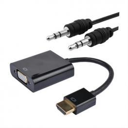 Conversor Hdmi A Svga+Audio, Hdmi/m-Svga/h+3.5/h, Negro, 10 Cm+1.0 M