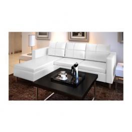 Sofá Seccional En L de Cuero Artificial Con 3 Asientos - Sofa